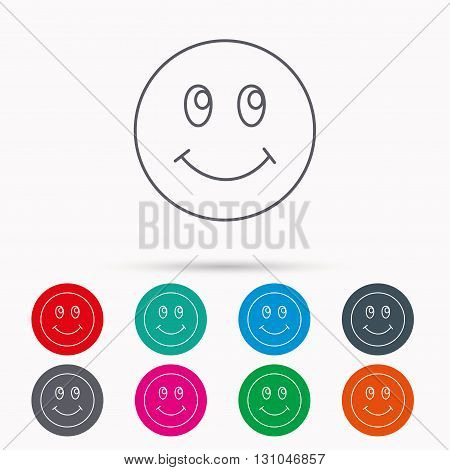 Smile icon. Positive happy face sign. Happiness and cheerful symbol. Linear icons in circles on white background.