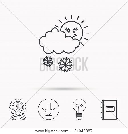 Snow with sun icon. Snowflakes with cloud sign. Snowy overcast symbol. Download arrow, lamp, learn book and award medal icons.