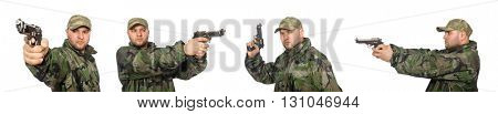 Soldier with gun isolated on the white