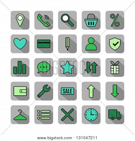 Icon set e-Commerce, flat design, shopping symbols and elements. Vector illustration