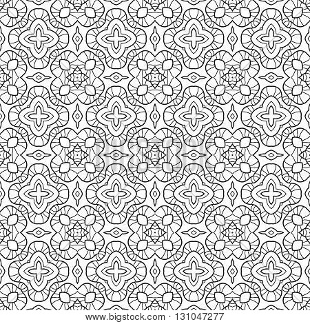 Black and white floral seamless pattern. Decorative ornament for coloring book, page. Vector illustration