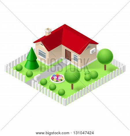 Isometric 3d small home fenced with green grass and trees