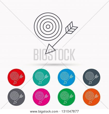 Target with arrow icon. Dart aim sign. Linear icons in circles on white background.
