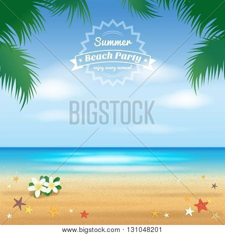 Summer beach party hello summer background and banner