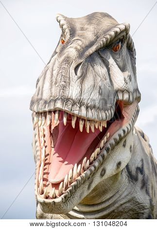 Closeup portrait of a plastic tyrannosaurus rex