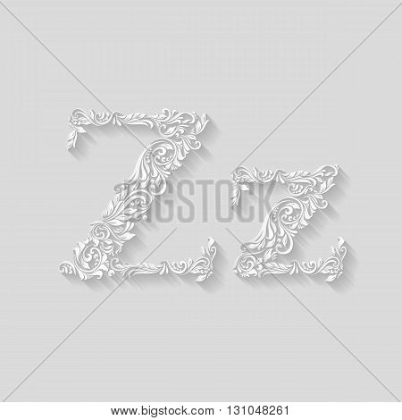 Handsomely decorated letter Z in upper and lower case on gray