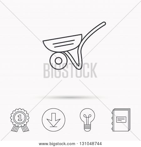 Trolley icon. Garden cart sign. Gardener equipment symbol. Download arrow, lamp, learn book and award medal icons.