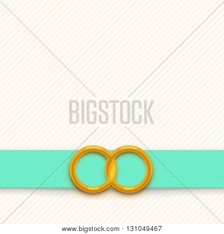 illustration of wedding card with two rings