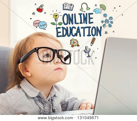 Online Education Concept With Toddler Girl
