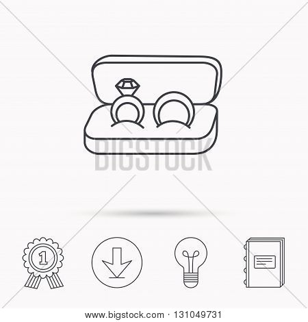 Wedding rings icon. Jewelry with diamond sign. Marriage symbol. Download arrow, lamp, learn book and award medal icons.