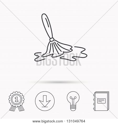Wet cleaning icon. Clean-up floor tool sign. Download arrow, lamp, learn book and award medal icons.