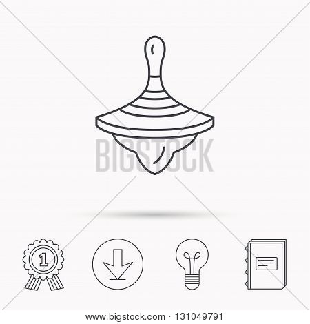 Whirligig icon. Baby toy sign. Spinning top symbol. Download arrow, lamp, learn book and award medal icons.