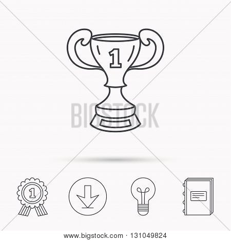 Winner cup icon. First place award sign. Victory achievement symbol. Download arrow, lamp, learn book and award medal icons.