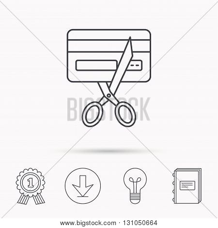 Expired credit card icon. Shopping sign. Download arrow, lamp, learn book and award medal icons.