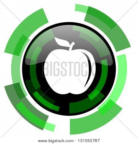 apple icon, green modern design glossy round button, web and mobile app design illustration