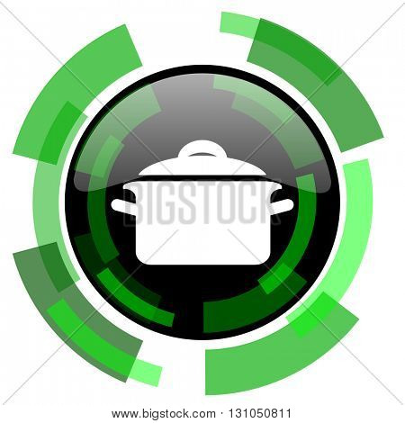 cook icon, green modern design glossy round button, web and mobile app design illustration