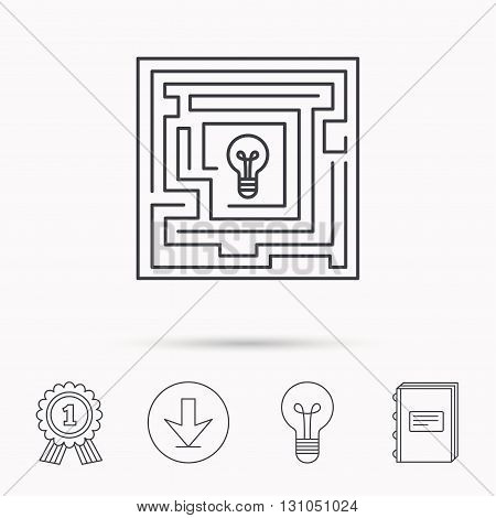 Labyrinth icon. Problem challenge sign. Find solution symbol. Download arrow, lamp, learn book and award medal icons.