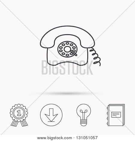Retro phone icon. Old telephone sign. Download arrow, lamp, learn book and award medal icons.