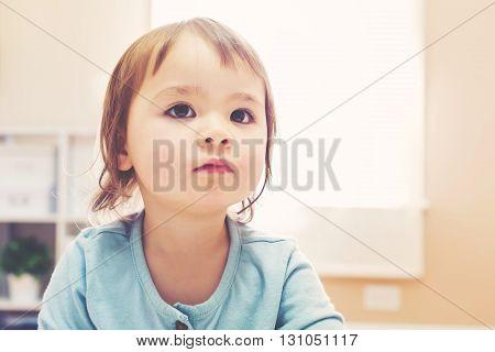 Portrait Of A Toddler Girl In Light Blue