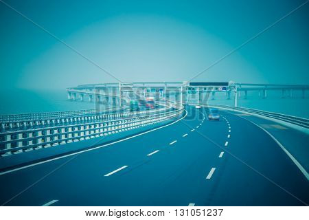 traffic on haiwan bridge,qingdao