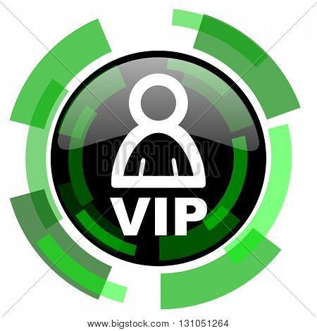 vip icon, green modern design glossy round button, web and mobile app design illustration