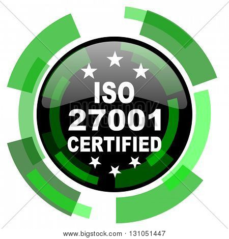 iso 27001 icon, green modern design glossy round button, web and mobile app design illustration