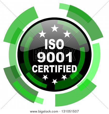 iso 9001 icon, green modern design glossy round button, web and mobile app design illustration