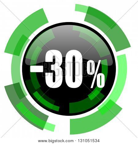 30 percent sale retail icon, green modern design glossy round button, web and mobile app design illustration