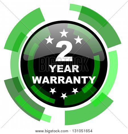 warranty guarantee 2 year icon, green modern design glossy round button, web and mobile app design illustration