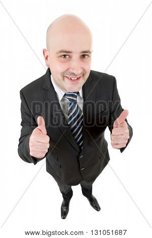 young businessman full body going thumbs up, isolated on white background