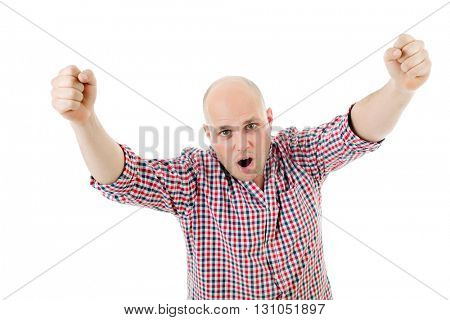 happy young man winning with open arms, isolated on white background