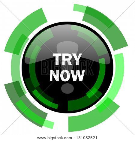 try now icon, green modern design glossy round button, web and mobile app design illustration