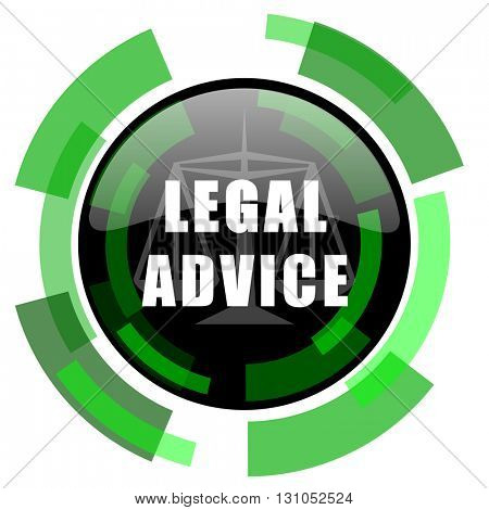 legal advice icon, green modern design glossy round button, web and mobile app design illustration