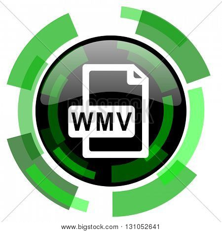 wmv file icon, green modern design glossy round button, web and mobile app design illustration