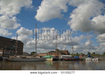 Warehouse In Gloucester Dock And Ships