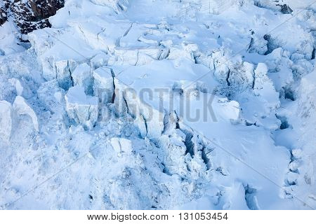 Blue ice and glacier crevasses near Matterhorn Switzerland