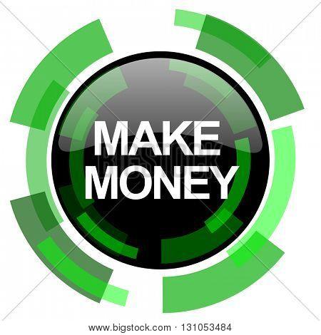 make money icon, green modern design glossy round button, web and mobile app design illustration