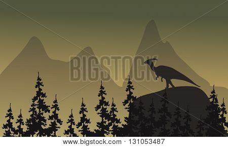 On cliff parasaurolophus silhouette scenery at afternoon