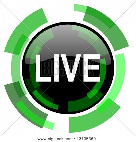 live icon, green modern design glossy round button, web and mobile app design illustration