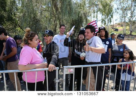 IRVINE, CALIFORNIA - May 22: Special Fans and Supporters arrive show their support for Bernie Sanders at a Rally in Irvine, California on May 22, 2016