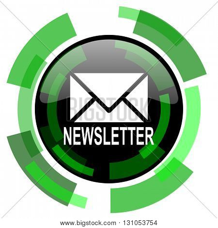 newsletter icon, green modern design glossy round button, web and mobile app design illustration