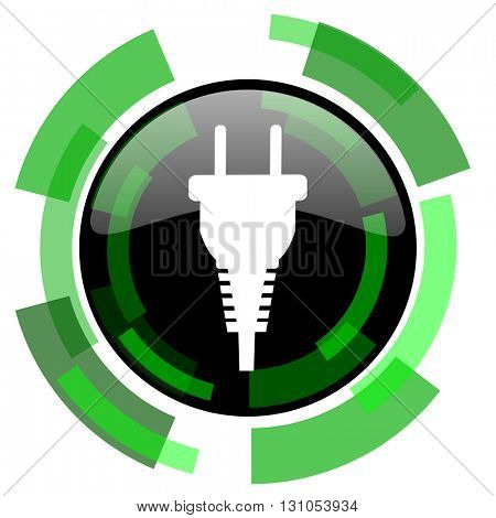 plug icon, green modern design glossy round button, web and mobile app design illustration