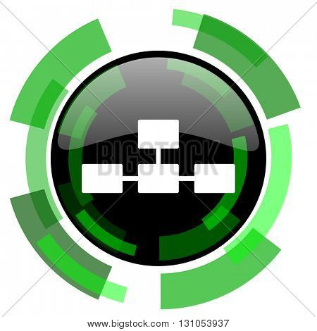 database icon, green modern design glossy round button, web and mobile app design illustration