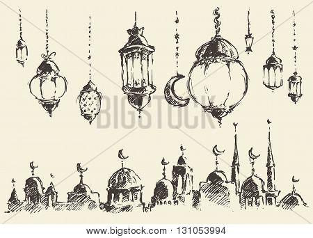 Ramadan celebration vintage engraved illustration hand drawn