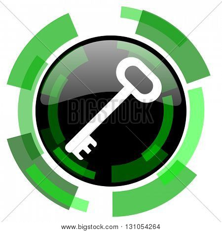 key icon, green modern design glossy round button, web and mobile app design illustration