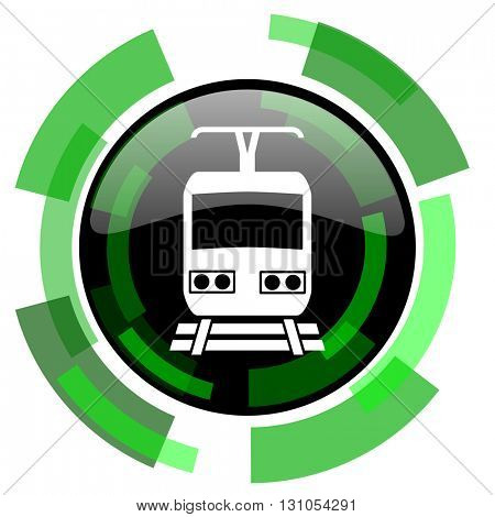 train icon, green modern design glossy round button, web and mobile app design illustration