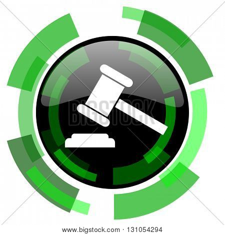 auction icon, green modern design glossy round button, web and mobile app design illustration
