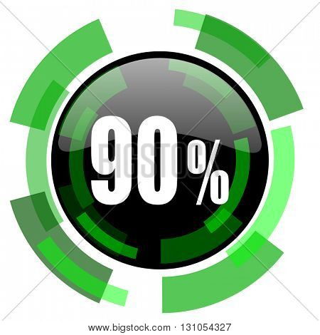 90 percent icon, green modern design glossy round button, web and mobile app design illustration