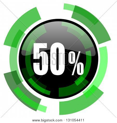 50 percent icon, green modern design glossy round button, web and mobile app design illustration