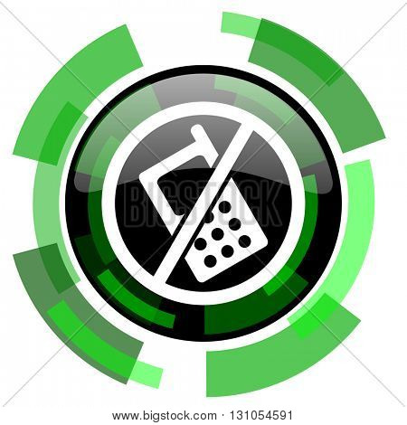 no phone icon, green modern design glossy round button, web and mobile app design illustration